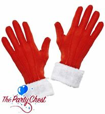 LADIES MRS CLAUS GLOVES WITH PLUSH TRIM Red Christmas Costume Gloves 05385