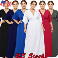Women Oversize Dress V-Neck Maxi Long Formal Ball Gown Cocktail Party Plus Size