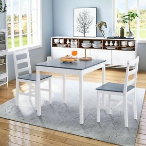 Solid Pine Dining Table and Chair Set of 3 Space-Saver Kitchen Table and Chairs