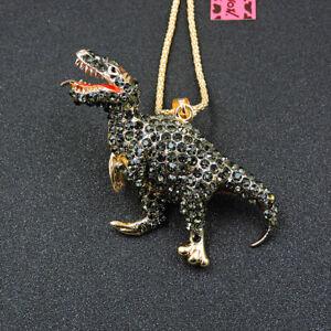 Betsey Johnson Crystal 3D Dinosaur Pendant Chain Sweater Necklace