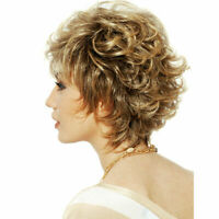 Women Short Fluffy Brown Mix Blonde Hair Wigs with Bangs Cosplay Party Wig