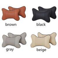 Car Seat Pillow Headrest Pad Memory Foam Leather Head Neck Rest Auto Cushion US