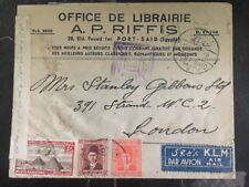 1940 Port Said Egypt Library Censored Cover to London England