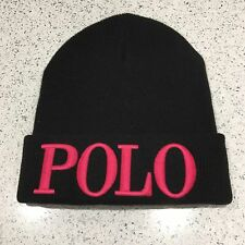 626c2a9878b RALPH LAUREN POLO Beanie Hat Black Pink Cashmere Mix Unisex One Size BNWT