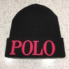 RALPH LAUREN POLO Beanie Hat Black/Pink Cashmere Mix Unisex One Size BNWT