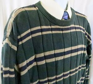 Roundtree & Yorke XL Men Sweater Green with stripes Long sleeve 100% Cotton
