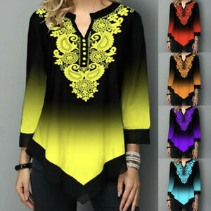 Womens Floral Blouse Tunic T Shirts Summer Gradiant Casual Loose Tops Plus Sizes