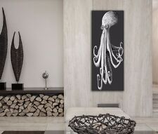 Modern Octopus Art Black White Metal Giclee Contemporary Ocean Decor Marine Life