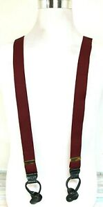 """CHERRY RED ELASTIC CROCO BLACK LEATHER BUTTON Y-BACK 1.25""""Wd SUSPENDERS (F81"""