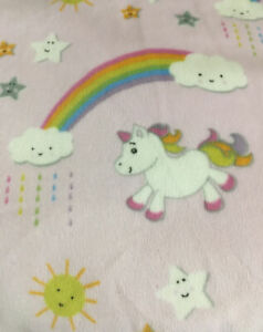 BLANKETS & BEYOND Pink White Unicorn And Rainbows Clouds Sherpa Blanket 30 x 27""