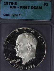 1976-S Type 1 ICG Proof 67 Deep Cameo Clad Eisenhower Dollar!
