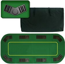 "Poker Folding Table Top 80"" inch Texas Hold'em 8 Player Green Table and Chip"