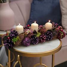 Purple Glitter Tones Triple Christmas Candle Holder 36cm
