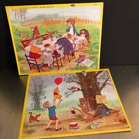 VTG Disney Jaymar Kids Tray Puzzles Set 2 Winnie Pooh Cardboard Complete Made US