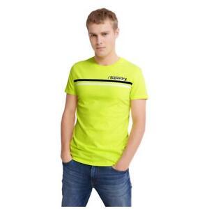 Superdry NEW Men's Core Logo Sport Stripe T-Shirt - Neon Yellow BNWT