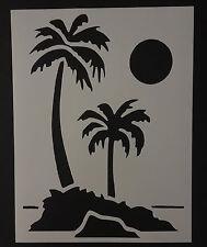 "Palm Trees Tree Beach Sun Moon 8.5"" x 11"" Stencil FAST FREE SHIPPING"