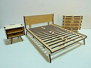 1:12 Scale Doll House Furniture 3 Piece Bedroom  Set-Mid Century Modern