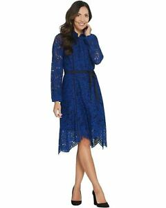 Isaac Mizrahi Live! Women's Special Edition Lace Belted Dress 0 Blue A345607