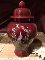 """Asian Porcelain Maroon Ginger Jar Floral, Butterfly & Peacock 11 1/2""""x6"""""""