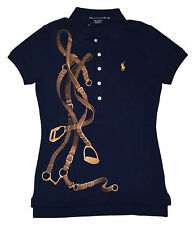 Polo Ralph Lauren Sport Womens Short Sleeve Equestrian Shirt Navy Gold Large