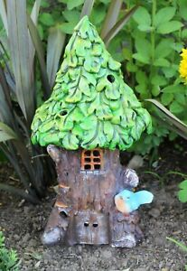 Solar Garden Ornament Decor Large Fairy House Pixie Outdoor Indoor Statue Home
