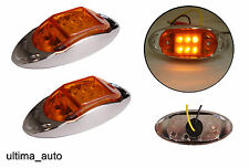 2x 12V arancio led lato cromo luci di ingombro Lampada indicatore rimorchio