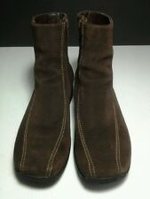 CLARKS Womens Zip Wedge Ankle Boots 75172 ~ Brown Suede Leather Sz 6