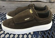 Puma Brown/Green Suede Creepers Hook N Loop Overlay Womens Size 9
