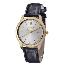Azzaro Men's Legend Silver Dial Leather Strap Swiss Quartz Watch AZ2040.62SB.000