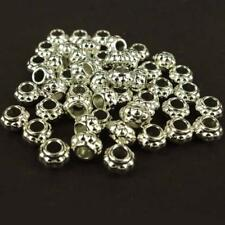 50 x CCB Plastic Silver Spacer Beads Large Hole 8mm x12mm  Embossed Bobble  NP3