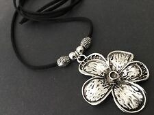 Long black Suede Necklace With A lovely elegant Tibetan 50mm flower Pendant