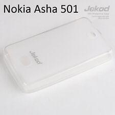 Jekod white TPU gel silicone case cover + screen protector for Nokia Asha 501