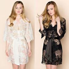 Sexy Womens Lingerie Lace Dress Bath Robe Gown Babydoll Nightwear Sleepwear ED