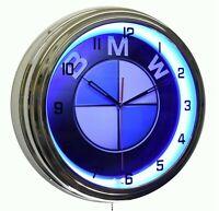 "BMW Sign Blue Neon Advertising Clock Garage Man Cave Bavarian Motor Works (16"")"