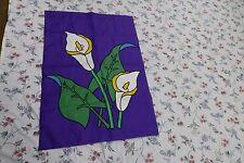 """VTG '92 large nylon Garden flag 39.5"""" x 27 3/4"""" Purple white/yellow calla floral"""