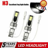 2* H3 LED Fog Light 200W Super Bright Chip Car Driving Bulb White DRL Lamp 6000K