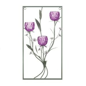"""Magenta Flower Three Candle Wall Sconce W/ 3 Glass Votive Holders 16.75"""" High"""