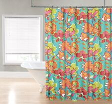 Bold Floral Teal Lime Green Pink Orange Fabric Shower Curtain By Regal