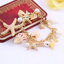 Coastal Gold STARFISH SEASHELL Charms Pearl CLUSTER SEA LIFE Bracelet SV