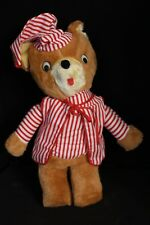 """Vintage 17"""" Teddy Bear in Red & White Stiped PJs Pajamas Plush Toy Doll"""