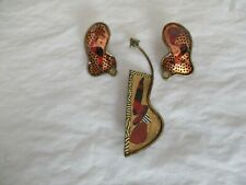 Artist Crafted Signed Brody Pin & Earrings Set '97 Brass Decoupage, Agate Stones