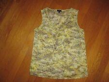 EUC Ladies Talbots Yellow Gray Ruffle Sleeveless Blouse Top Size 4