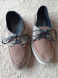 Lacoste Brown Canvas Suede Deck Boat Shoes Men SZ 7.5
