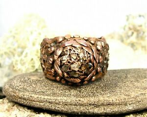 Organic  Aged Solid Copper Flower Ring--Herkimer Diamond Crystal Stone-Size 10