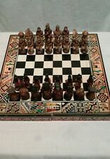 "Vintage Hand Painted Aztec Mayan Chess Set w/ Wooden Carrying Case - 2 3/4"" King"