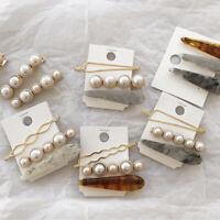 Women Girls Geometric Hair Clips Barrettes Accessories Pearl Acrylic Pins Clip