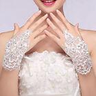 White Bridal Party Fingerless Lace Short Rhinestone Evening Prom Wedding Gloves