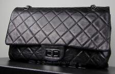 AUTH Chanel Aged Calfskin 2.55 Reissue 227 Flap Black Metallic