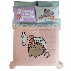 Girls Mermaid Pusheen Coral Reversible Comforter Set with Sparkle Ink