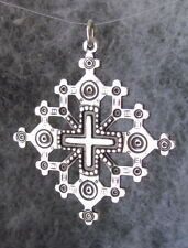 "Old Hutsul 3D Jerusalem Cross Pendant, Oxidized + Sterling Silver,1 1/2""X 1 1/2"""